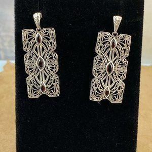 Victorian Dangle 925 Silver & Garnet Earrings